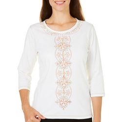 Alfred Dunner Womens Just Peachy Embroidered Top