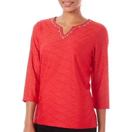 Alfred Dunner Womens Talk Of Town Burnout Top