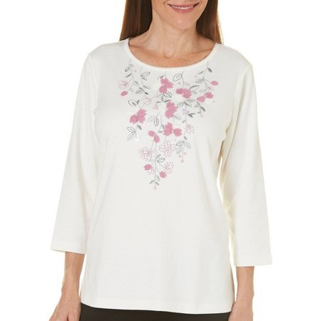 Alfred Dunner Womens Winter Garden Embroidered Top