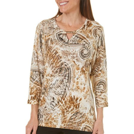 Alfred Dunner Womens Deck The Halls Print Top