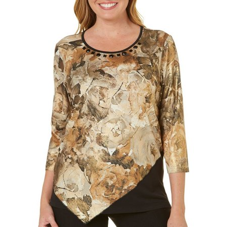 Alfred Dunner Womens Deck The Halls Floral Top