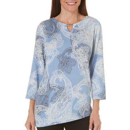 Alfred Dunner Womens Paisley Print Top