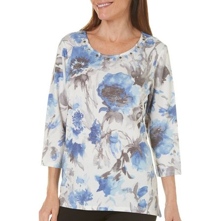 Alfred Dunner Womens Silver Belles Floral Top