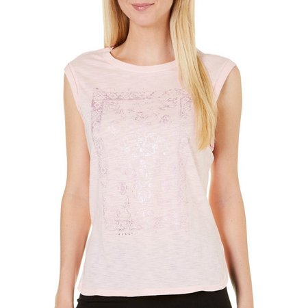 Gaiam Womens Sloan Metallic Screen Print T-Shirt