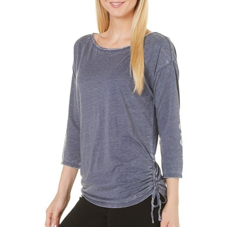 Gaiam Womens Bryn Slouchy Drawstriing Side Top