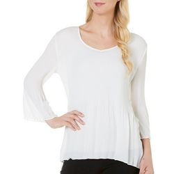 Sami & Jo Womens Pleated Top With Asymetrical