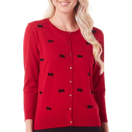 August Silk Womens Bow Front Button Cardigan