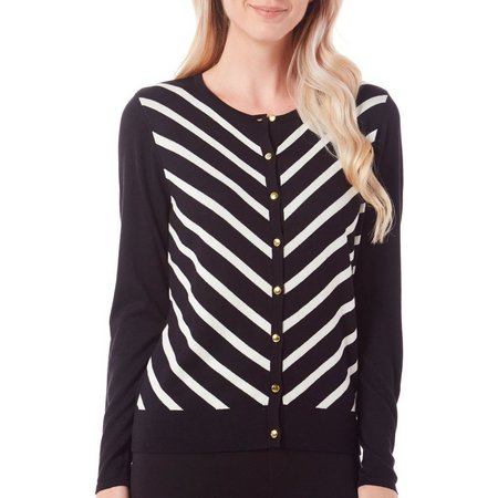 August Silk Womens Stripes Button Front Cardigan