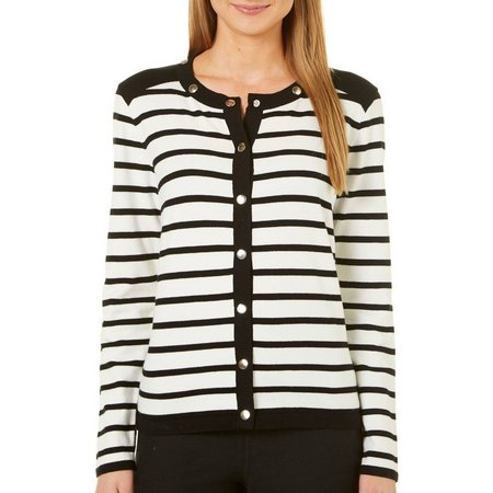 August Silk Womens Stripe Cardigan Sweater
