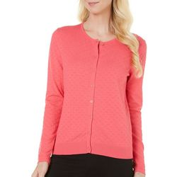 August Silk Womens Textured Solid Cardigan