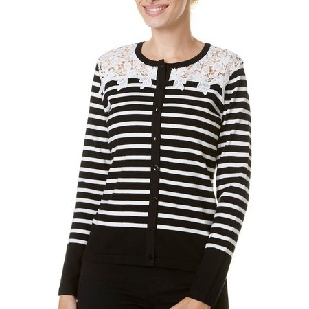 August Silk Womens Stripe Crochet Yoke Cardigan