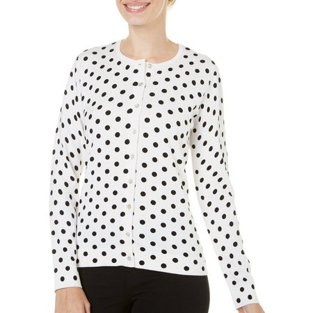 August Silk Womens Polka Dot Cardigan