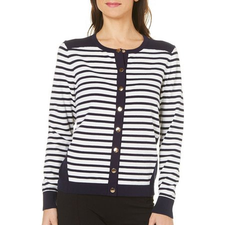 August Silk Womens Striped Button Front Cardigan