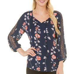 Counterparts Womens Floral Print Crochet Inset Top