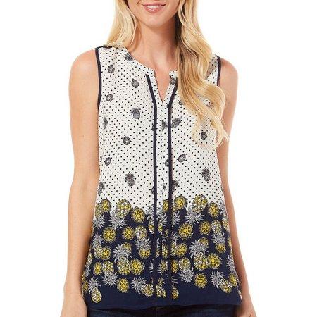 Corvia Womens Pineapple Dot Print Sleeveless Top