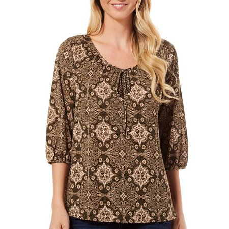 Corvia Womens Medallion Print Peasant Top