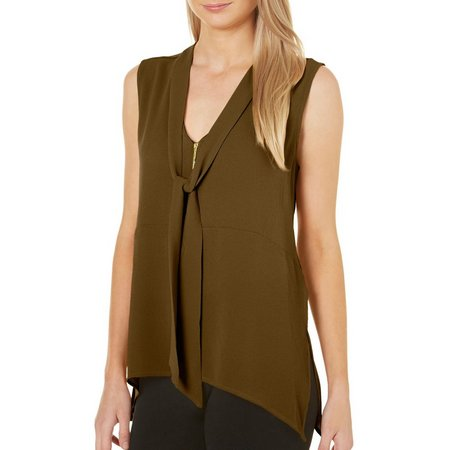 Harve Benard Womens Zip Front Tie Neck Sleeveless