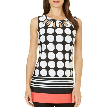 MARIA GABRIELLE Womens Tile Print Grommet Neck Top