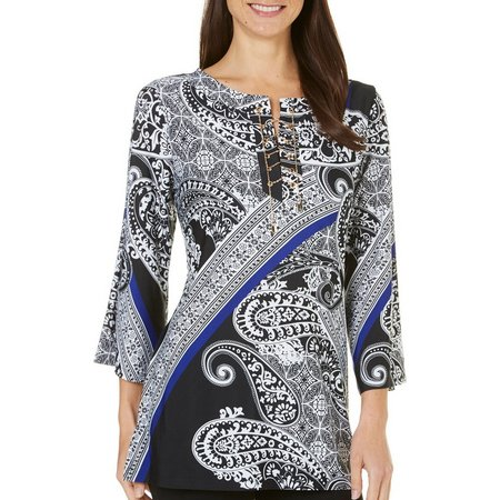 MARIA GABRIELLE Womens Paisley Print Lace Up Top