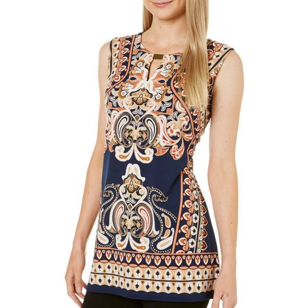 Maria Gabrielle Womens Paisley Print Sleeveless Tunic Top