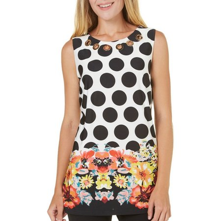 MARIA GABRIELLE Womens Dot Floral Grommet Neck Top