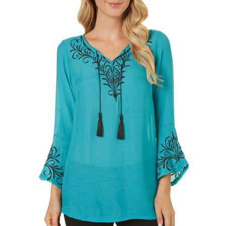 MARIA GABRIELLE Womens Embroidered Tie Front Top