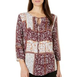 Fred David Womens Floral Patchwork Tie Keyhole Top