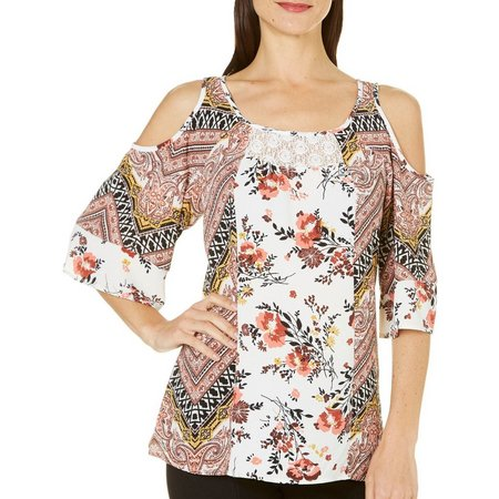 Figueroa and Flower Womens Cold Shoulder Demi Top