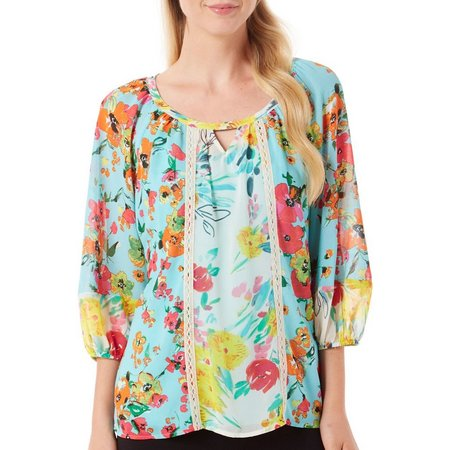 Figueroa and Flower Womens Avery Floral Print Top