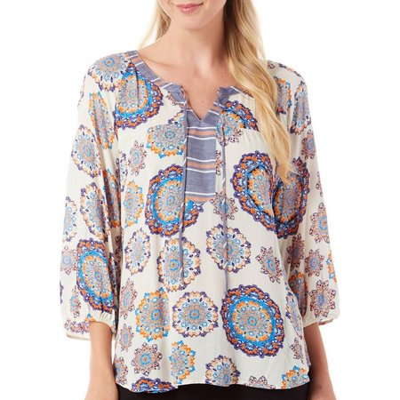 Figueroa and Flower Womens Asia Print Mix Top