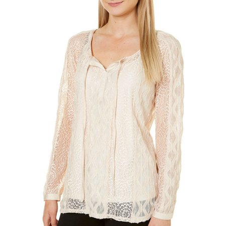 Figueroa and Flower Womens Jacquard Peasant Top
