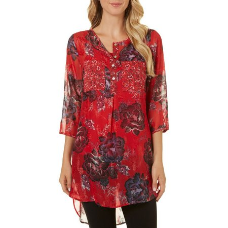 Figueroa and Flower Womens Kendra Floral Red Top