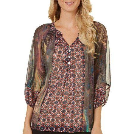 Hope Springs Womens Clara Peacock Print Top