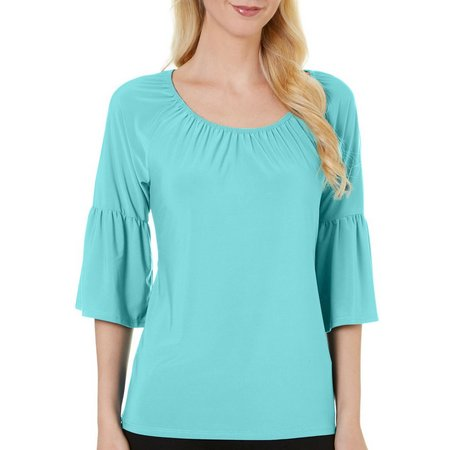 C'est La Vie Womens Solid Ruffle Sleeve Top