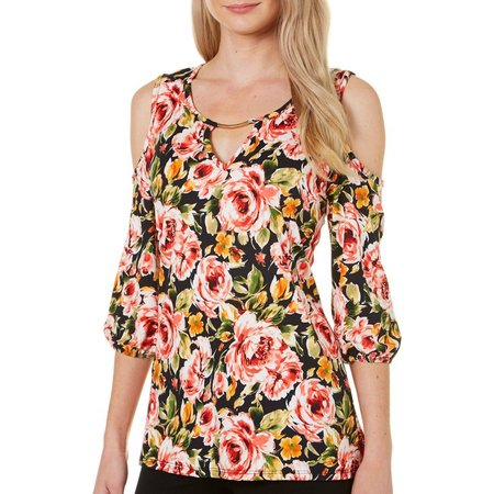 C'est La Vie Womens Floral Cold Shoulder Top