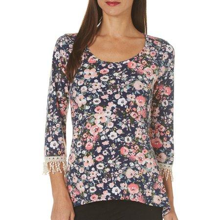 C'est La Vie Womens Floral Crochet Sleeve Top