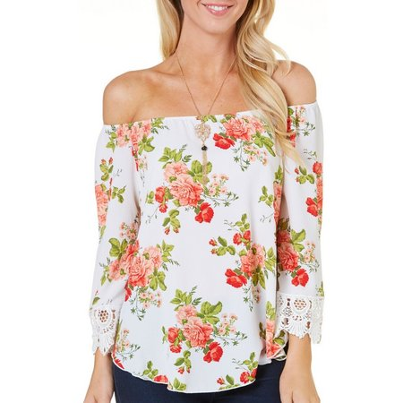C'est La Vie Womens Necklace & Floral Top