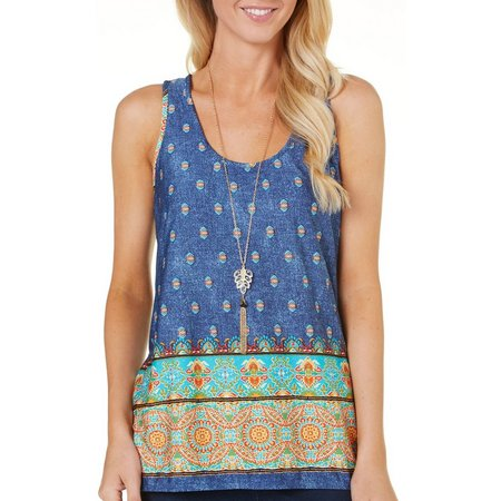 C'est La Vie Womens Necklace Border Print Tank