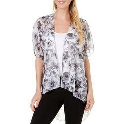 C'est La Vie Womens Floral Print Kimono Jacket