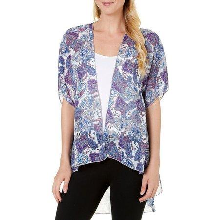 C'est La Vie Womens Paisley Print Kimono Jacket
