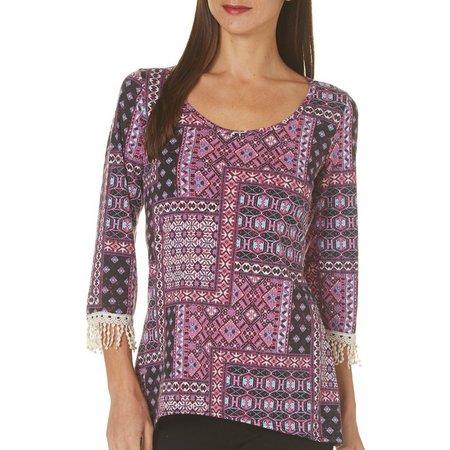 C'est La Vie Womens Block Print Crochet Sleeve
