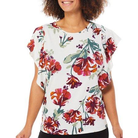 C'est La Vie Womens Ruffle Sleeve Floral Print