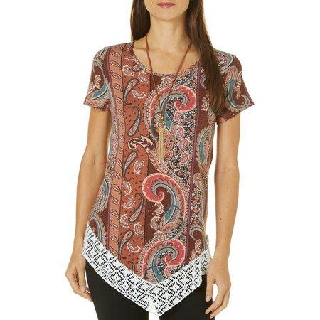 C'est La Vie Womens Necklace & Paisley Print