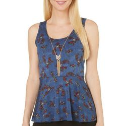 C'est La Vie Womens Paisley High-Low Peplum Top
