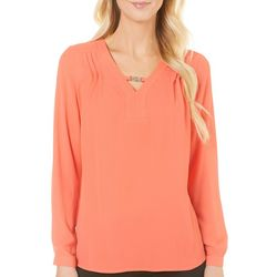 NY Collection Womens Chain Keyhole Top