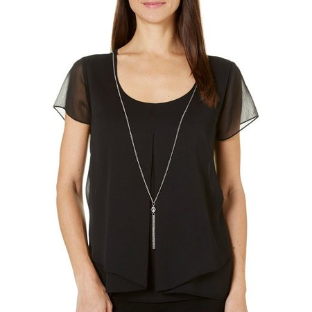 NY Collection Womens Necklace & Pleat Front Top