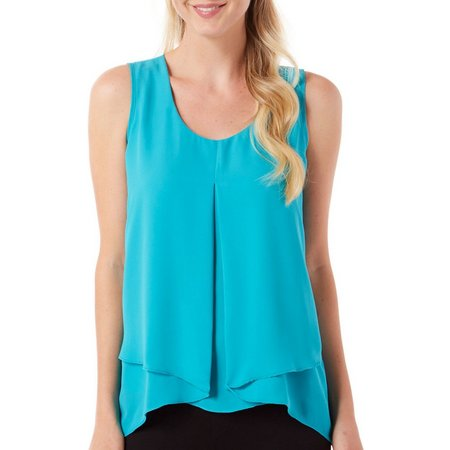 NY Collection Womens Pleat Front Solid Tank Top