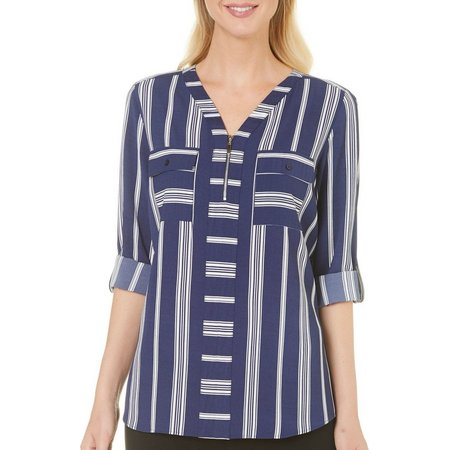 NY Collection Womens Stripe Zip Neckline Top