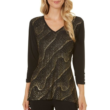 NY Collection Womens Multi Color Metallic Top