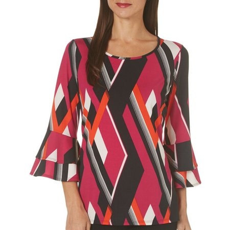 NY Collection Womens Ruffle Sleeve Geo Print Top